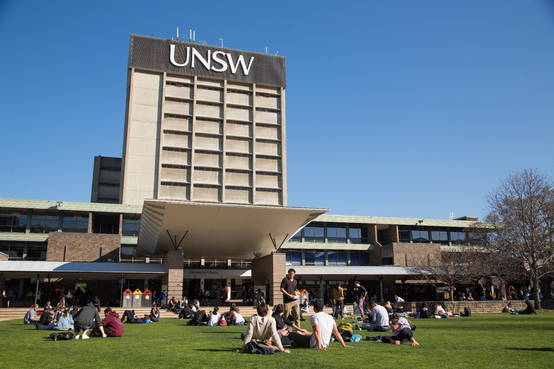 Photograph of the exterior of the library located on the UNSW Kensington campus this photo shows a full front view of the whole building